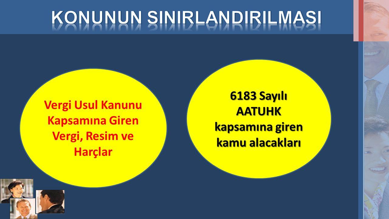 Vergi Usul Kanunu Kapsamına Giren Vergi, Resim ve Harçlar 6183 Sayılı AATUHK kapsamına giren kamu alacakları