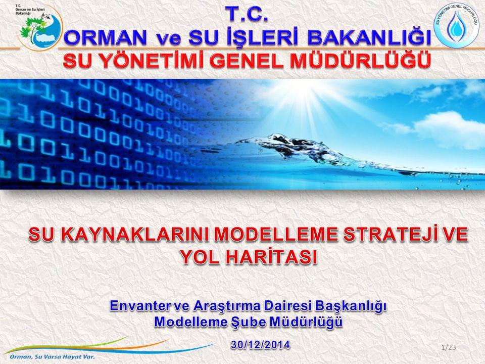 MODEP Akarsularda Kirletici Taşınımı Göl/Sulak Alanlar/Baraj Göllerde Kirletici Taşınımı Yeraltı Sularında Kirletici Taşınımı Yeraltı Sularının Hidrojeolojisi Taşkın Yönetimi Kuraklık Yönetimi Havza Yönetimi İçme Suyu Havzaları Özel Hüküm Yönetimi Su Tahsis Yönetimi Çevresel Kalite Standartlarının Belirlenmesi Deşarj Standartlarının Belirlenmesi 12/23