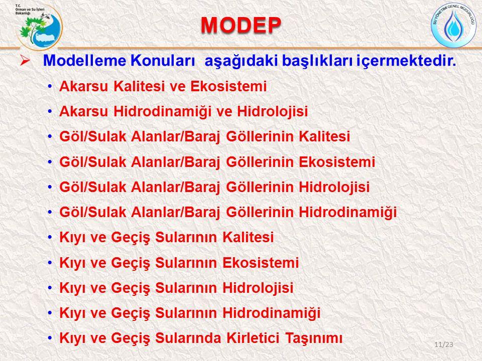 MODEP  Modelleme Konuları aşağıdaki başlıkları içermektedir. Akarsu Kalitesi ve Ekosistemi Akarsu Hidrodinamiği ve Hidrolojisi Göl/Sulak Alanlar/Bara