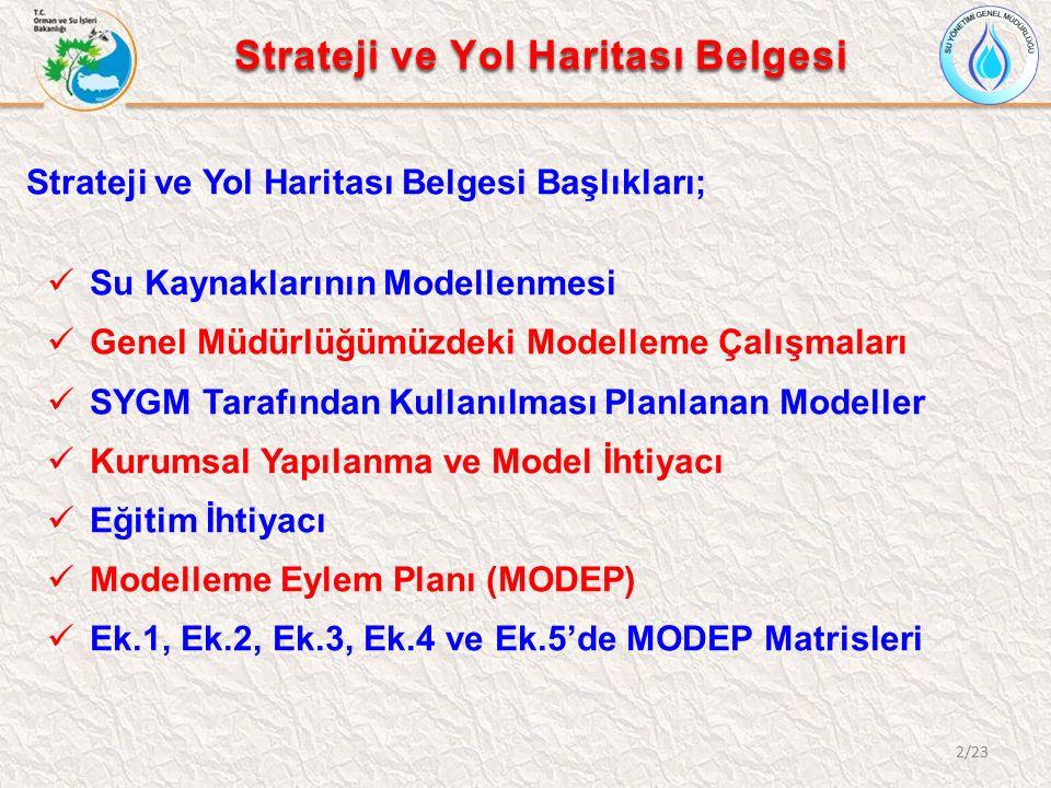 2/23 Strateji ve Yol Haritası Belgesi Strateji ve Yol Haritası Belgesi Başlıkları; Su Kaynaklarının Modellenmesi Genel Müdürlüğümüzdeki Modelleme Çalışmaları SYGM Tarafından Kullanılması Planlanan Modeller Kurumsal Yapılanma ve Model İhtiyacı Eğitim İhtiyacı Modelleme Eylem Planı (MODEP) Ek.1, Ek.2, Ek.3, Ek.4 ve Ek.5'de MODEP Matrisleri