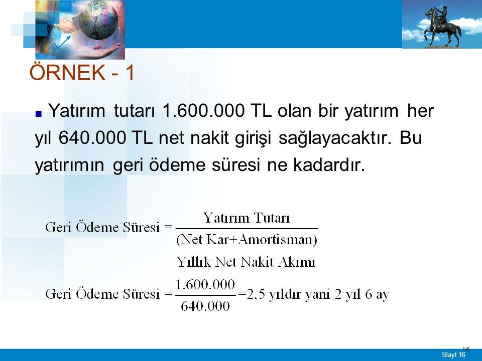 Slayt 16 ■ Yatırım tutarı 1.600.000 TL olan bir yatırım her yıl 640.000 TL net nakit girişi sağlayacaktır.
