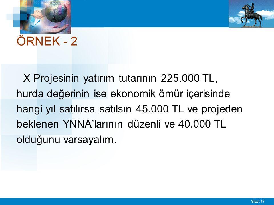 Slayt 17 ÖRNEK - 2 X Projesinin yatırım tutarının 225.000 TL, hurda değerinin ise ekonomik ömür içerisinde hangi yıl satılırsa satılsın 45.000 TL ve projeden beklenen YNNA'larının düzenli ve 40.000 TL olduğunu varsayalım.