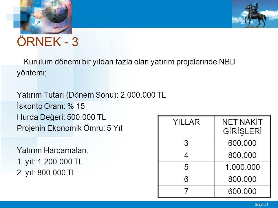 Slayt 31 ÖRNEK - 3 Kurulum dönemi bir yıldan fazla olan yatırım projelerinde NBD yöntemi; Yatırım Tutarı (Dönem Sonu): 2.000.000 TL İskonto Oranı: % 15 Hurda Değeri: 500.000 TL Projenin Ekonomik Ömrü: 5 Yıl Yatırım Harcamaları; 1.