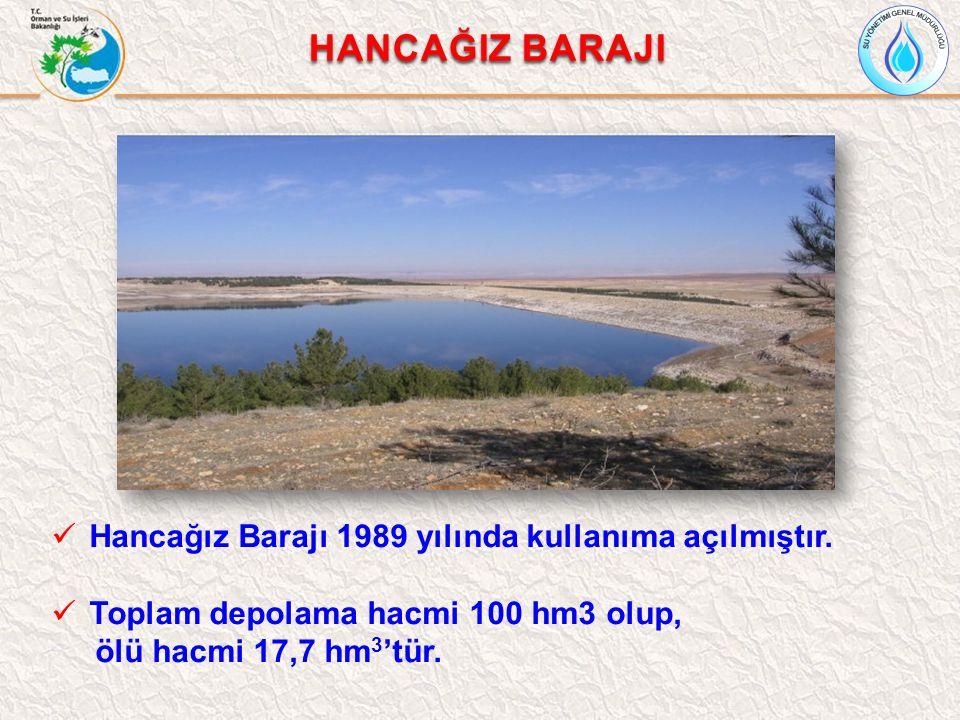 HANCAĞIZ BARAJI Hancağız Barajı 1989 yılında kullanıma açılmıştır. Toplam depolama hacmi 100 hm3 olup, ölü hacmi 17,7 hm 3 'tür.