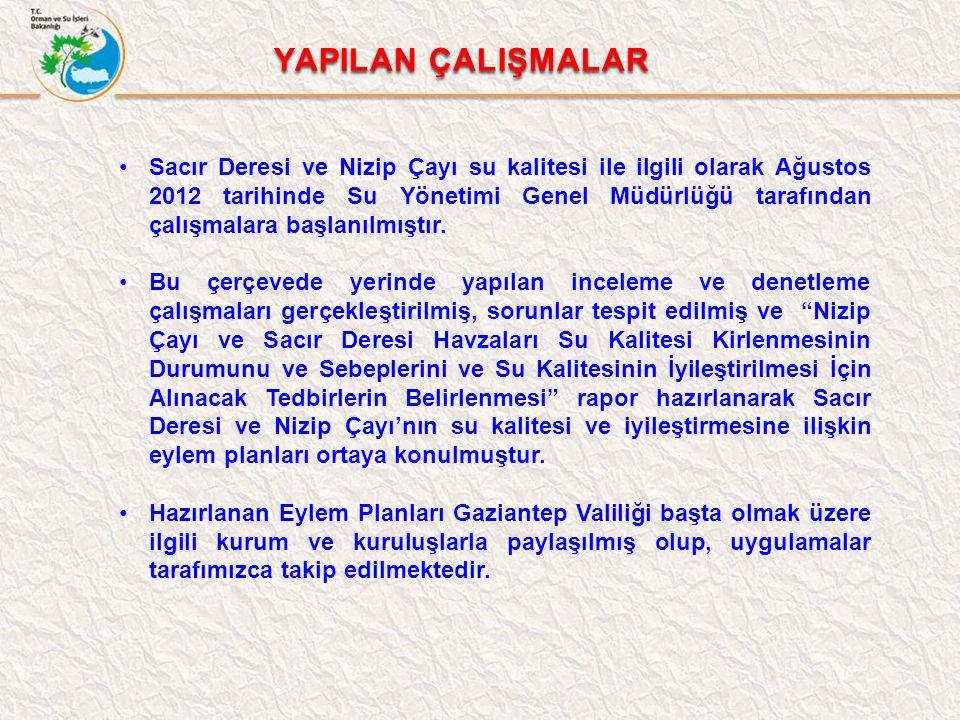 Sacır Deresi ve Nizip Çayı su kalitesi ile ilgili olarak Ağustos 2012 tarihinde Su Yönetimi Genel Müdürlüğü tarafından çalışmalara başlanılmıştır.