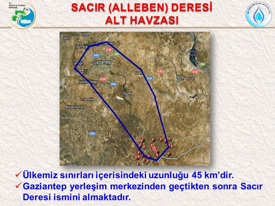 SACIR (ALLEBEN) DERESİ ALT HAVZASI Ülkemiz sınırları içerisindeki uzunluğu 45 km'dir. Gaziantep yerleşim merkezinden geçtikten sonra Sacır Deresi ismi