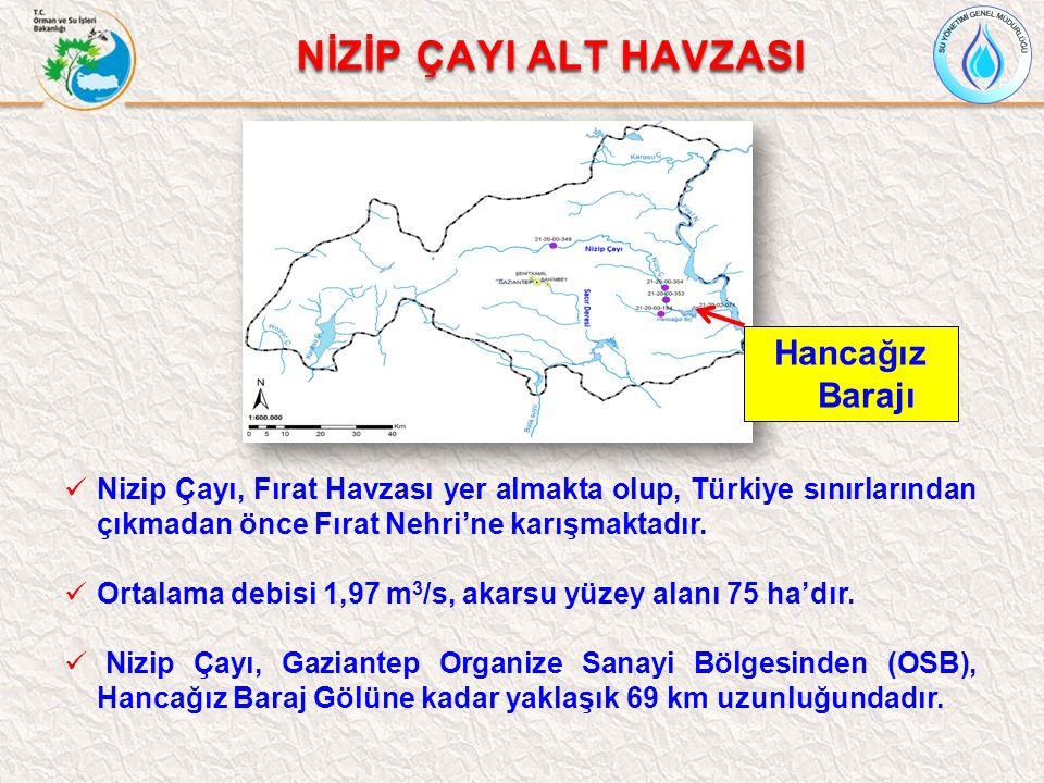 Nizip Çayı, Fırat Havzası yer almakta olup, Türkiye sınırlarından çıkmadan önce Fırat Nehri'ne karışmaktadır. Ortalama debisi 1,97 m 3 /s, akarsu yüze