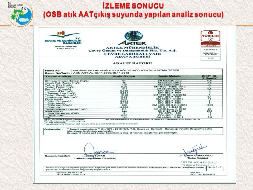 İZLEME SONUCU (OSB atık AATçıkış suyunda yapılan analiz sonucu)
