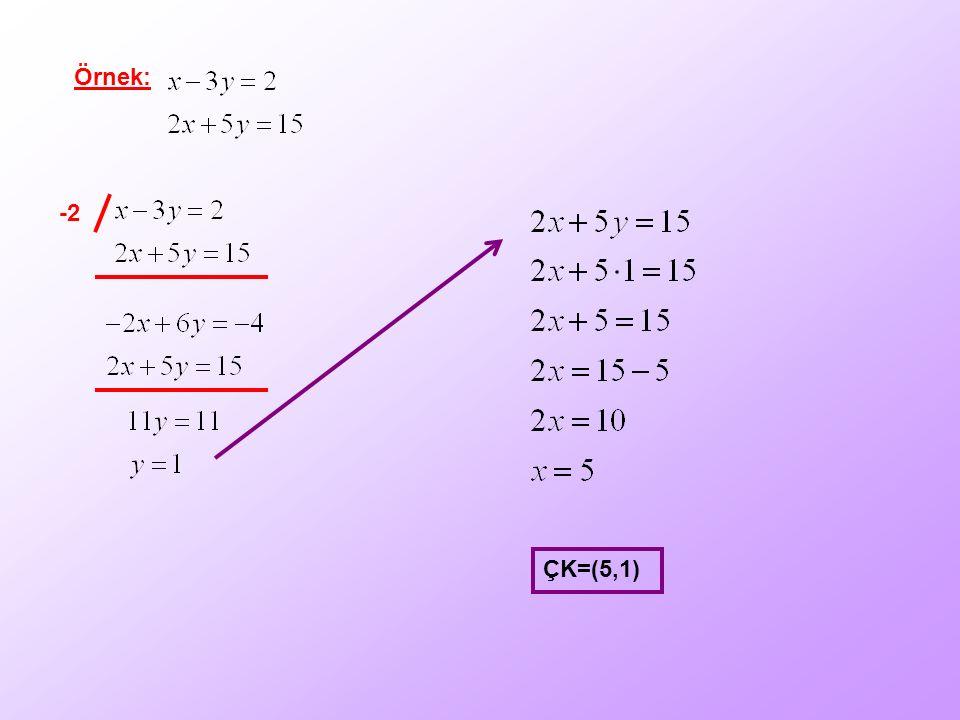 Örnek: -2 ÇK=(5,1)