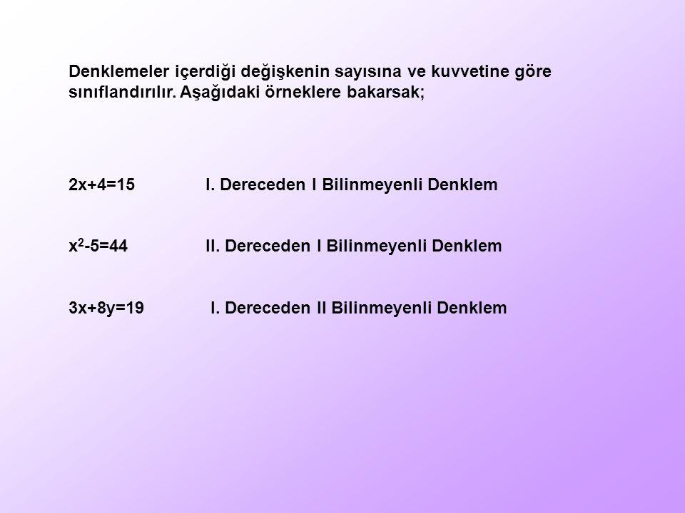 Denklemeler içerdiği değişkenin sayısına ve kuvvetine göre sınıflandırılır. Aşağıdaki örneklere bakarsak; 2x+4=15I. Dereceden I Bilinmeyenli Denklem x