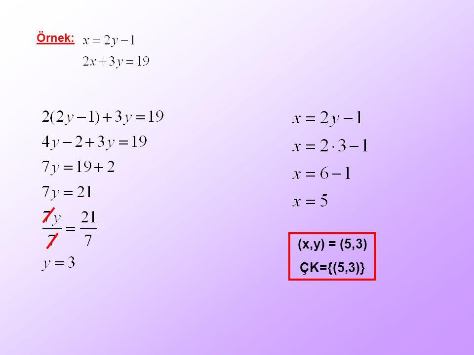 Örnek: (x,y) = (5,3) ÇK={(5,3)}