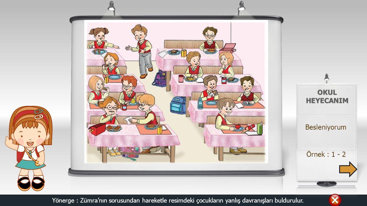 Örnek : 1 - 2 Besleniyorum Yönerge : Zümra'nın sorusundan hareketle resimdeki çocukların yanlış davranışları buldurulur.