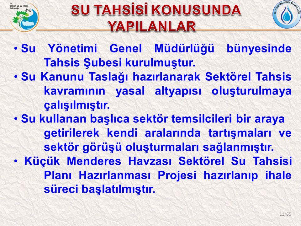 11/65 Su Yönetimi Genel Müdürlüğü bünyesinde Tahsis Şubesi kurulmuştur. Su Kanunu Taslağı hazırlanarak Sektörel Tahsis kavramının yasal altyapısı oluş