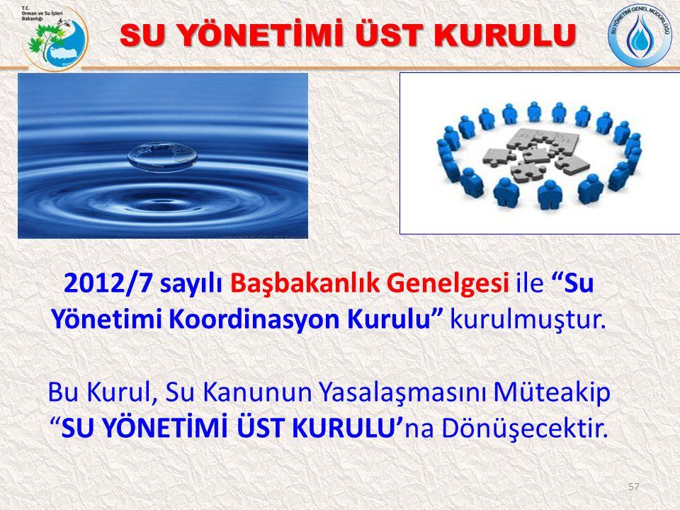 """57 SU YÖNETİMİ ÜST KURULU 2012/7 sayılı Başbakanlık Genelgesi ile """"Su Yönetimi Koordinasyon Kurulu"""" kurulmuştur. Bu Kurul, Su Kanunun Yasalaşmasını Mü"""