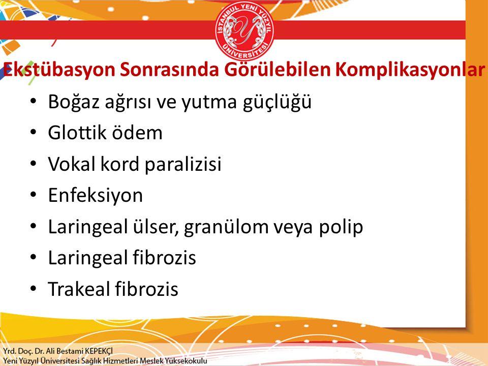 Ekstübasyon Sonrasında Görülebilen Komplikasyonlar Boğaz ağrısı ve yutma güçlüğü Glottik ödem Vokal kord paralizisi Enfeksiyon Laringeal ülser, granül
