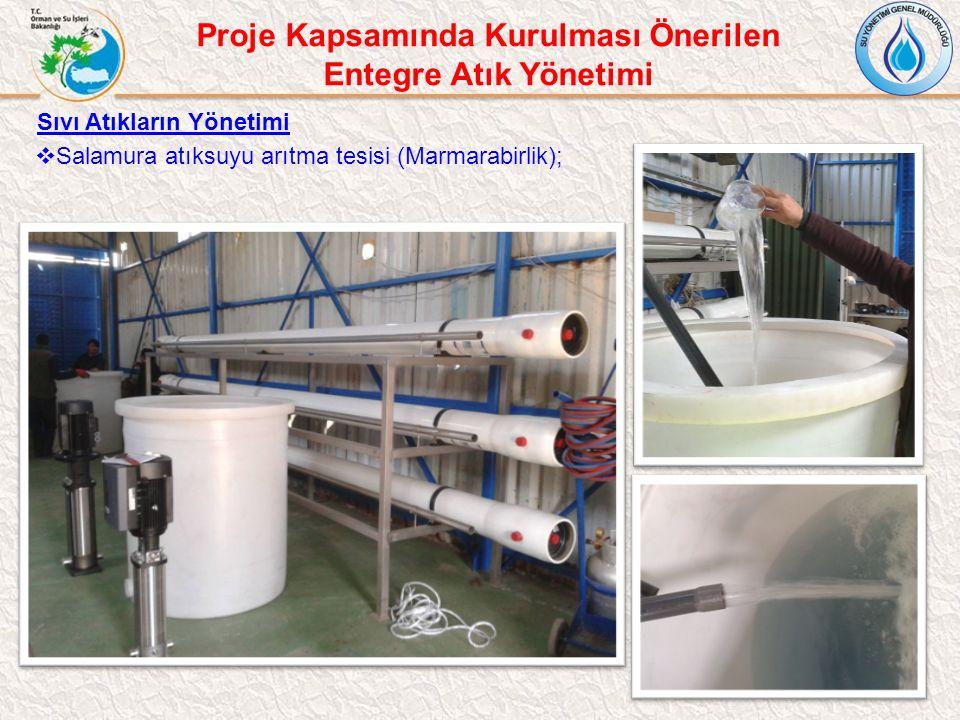 Sıvı Atıkların Yönetimi  Salamura atıksuyu arıtma tesisi (Marmarabirlik); Proje Kapsamında Kurulması Önerilen Entegre Atık Yönetimi