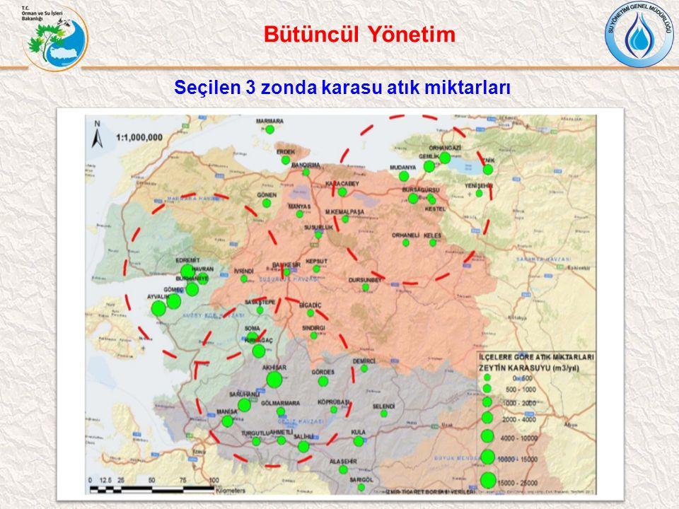 Seçilen 3 zonda karasu atık miktarları Bütüncül Yönetim