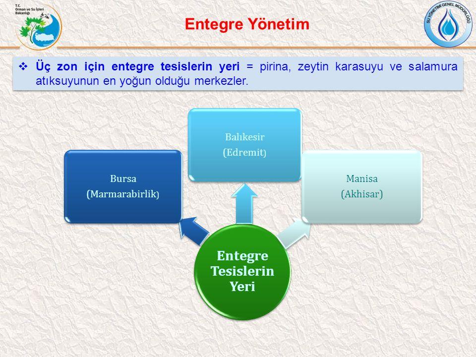 Entegre Tesislerin Yeri Bursa (Marmarabirlik ) Balıkesir (Edremit ) Manisa (Akhisar)  Üç zon için entegre tesislerin yeri = pirina, zeytin karasuyu v