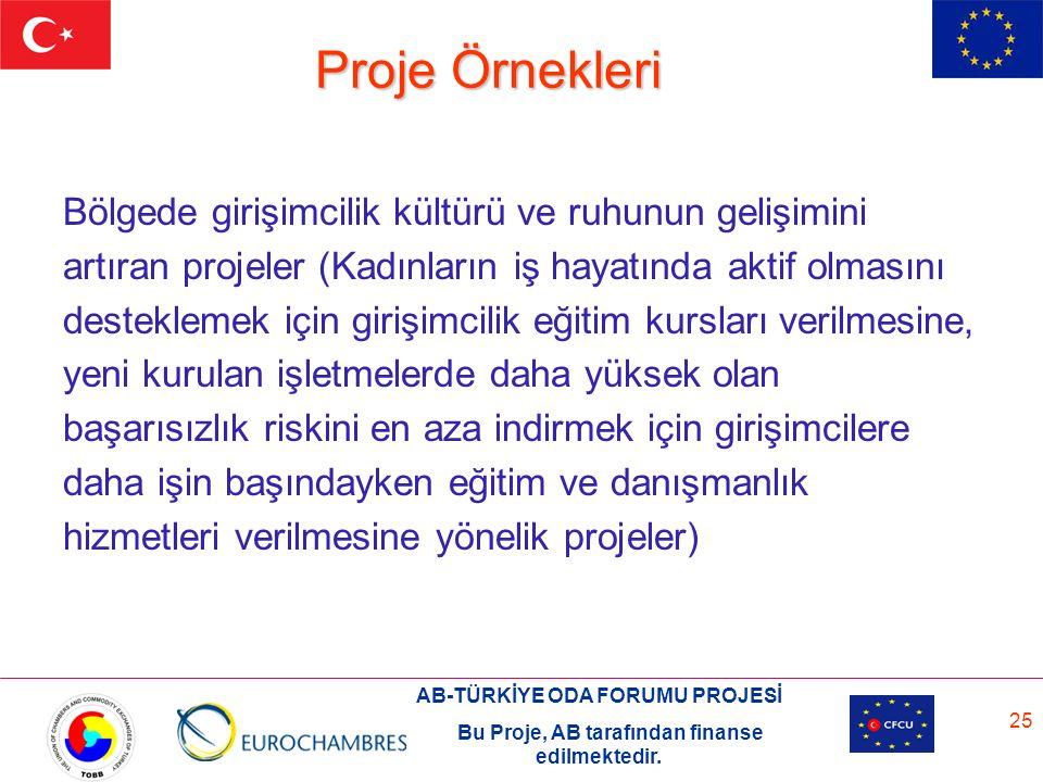 AB-TÜRKİYE ODA FORUMU PROJESİ Bu Proje, AB tarafından finanse edilmektedir. 25 Proje Örnekleri Bölgede girişimcilik kültürü ve ruhunun gelişimini artı