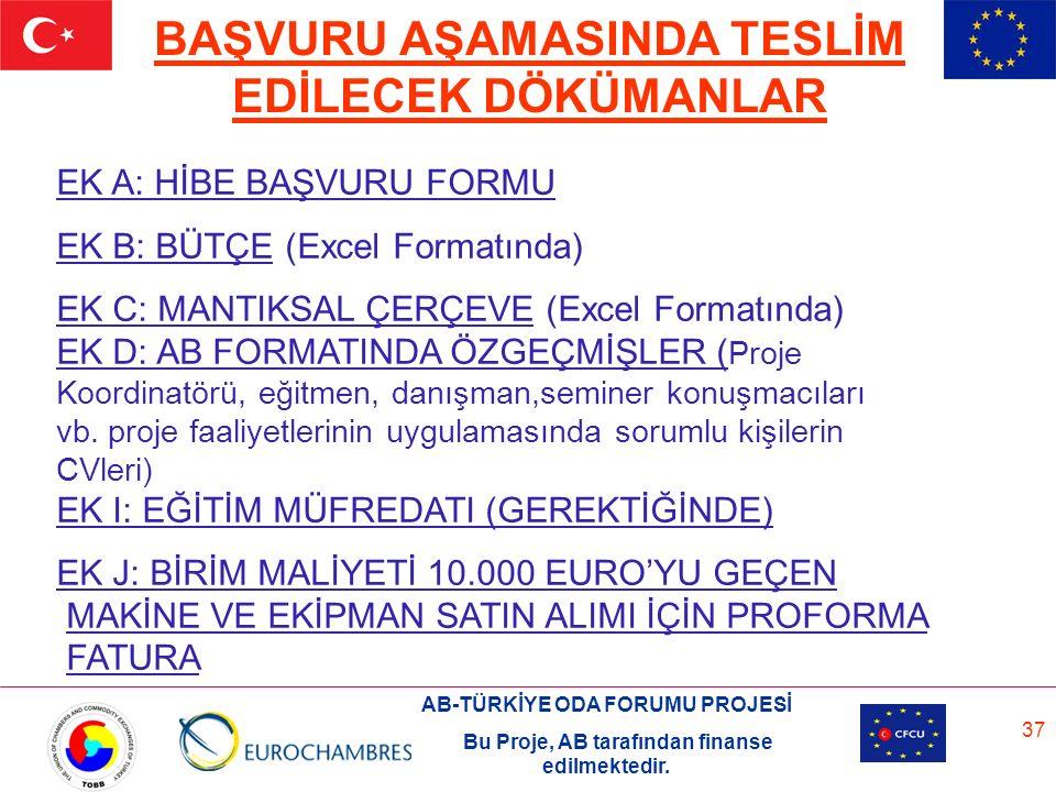 AB-TÜRKİYE ODA FORUMU PROJESİ Bu Proje, AB tarafından finanse edilmektedir. 37 EK A: HİBE BAŞVURU FORMU EK B: BÜTÇE (Excel Formatında) EK C: MANTIKSAL