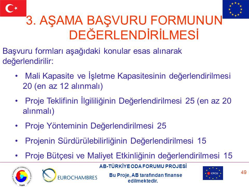 AB-TÜRKİYE ODA FORUMU PROJESİ Bu Proje, AB tarafından finanse edilmektedir. 49 3. AŞAMA BAŞVURU FORMUNUN DEĞERLENDİRİLMESİ Başvuru formları aşağıdaki