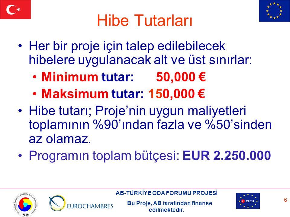 AB-TÜRKİYE ODA FORUMU PROJESİ Bu Proje, AB tarafından finanse edilmektedir. 6 Hibe Tutarları Her bir proje için talep edilebilecek hibelere uygulanaca