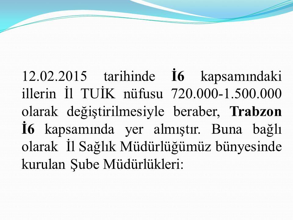 12.02.2015 tarihinde İ6 kapsamındaki illerin İl TUİK nüfusu 720.000-1.500.000 olarak değiştirilmesiyle beraber, Trabzon İ6 kapsamında yer almıştır. Bu