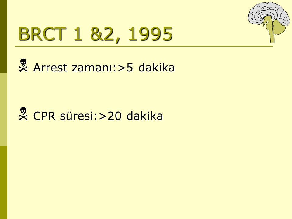 BRCT 1 &2, 1995  Arrest zamanı:>5 dakika  CPR süresi:>20 dakika