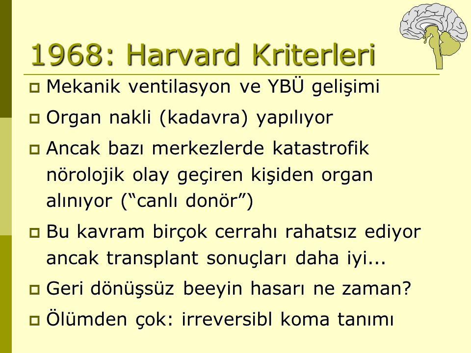 1968: Harvard Kriterleri  Mekanik ventilasyon ve YBÜ gelişimi  Organ nakli (kadavra) yapılıyor  Ancak bazı merkezlerde katastrofik nörolojik olay g
