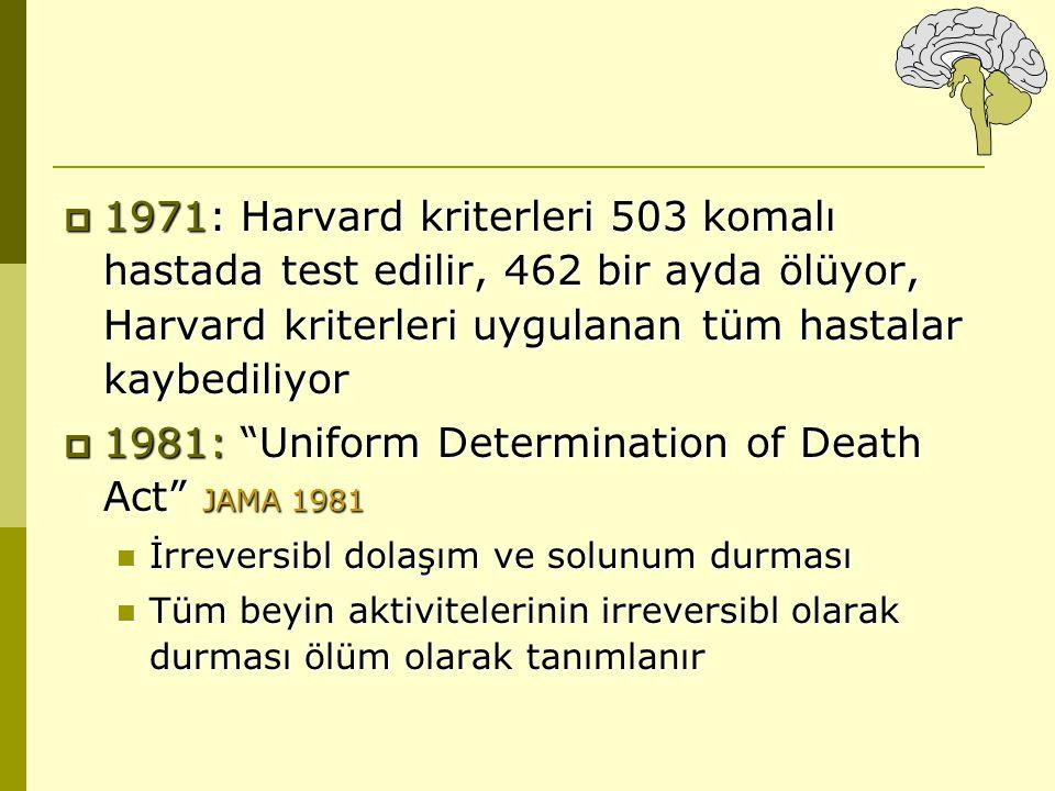 """ 1971: Harvard kriterleri 503 komalı hastada test edilir, 462 bir ayda ölüyor, Harvard kriterleri uygulanan tüm hastalar kaybediliyor  1981: """"Unifor"""
