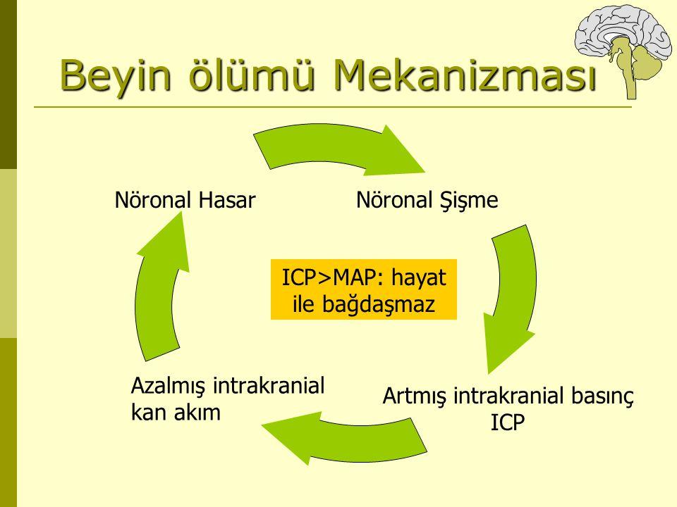 Beyin ölümü Mekanizması Azalmış intrakranial kan akım Artmış intrakranial basınç ICP ICP>MAP: hayat ile bağdaşmaz