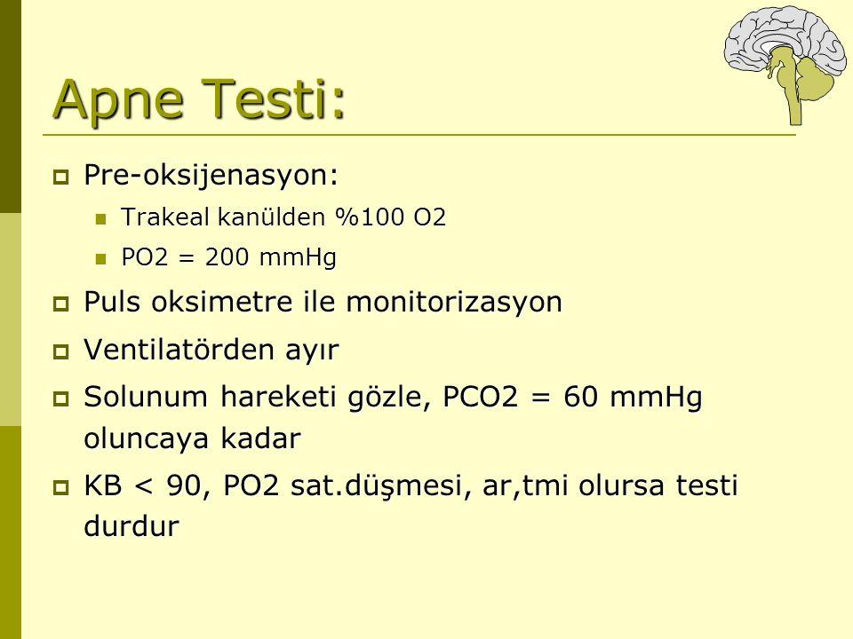 Apne Testi:  Pre-oksijenasyon: Trakeal kanülden %100 O2 Trakeal kanülden %100 O2 PO2 = 200 mmHg PO2 = 200 mmHg  Puls oksimetre ile monitorizasyon 