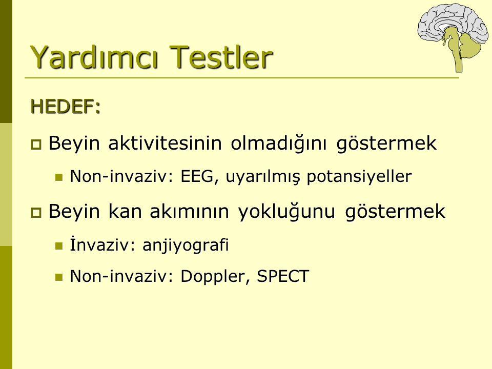 Yardımcı Testler HEDEF:  Beyin aktivitesinin olmadığını göstermek Non-invaziv: EEG, uyarılmış potansiyeller Non-invaziv: EEG, uyarılmış potansiyeller