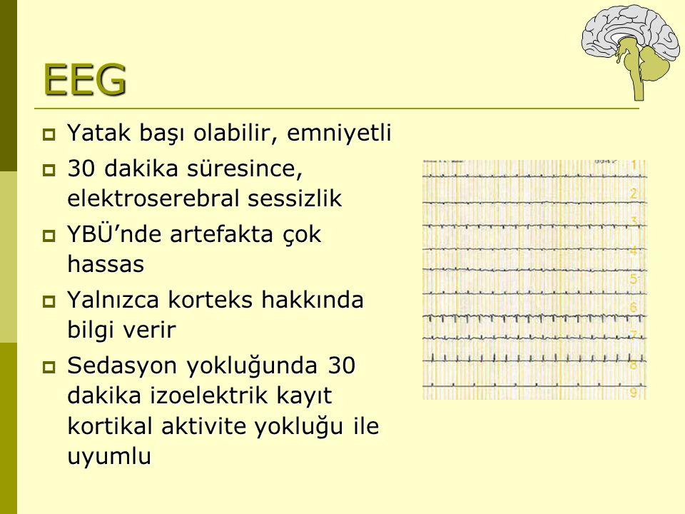EEG  Yatak başı olabilir, emniyetli  30 dakika süresince, elektroserebral sessizlik  YBÜ'nde artefakta çok hassas  Yalnızca korteks hakkında bilgi