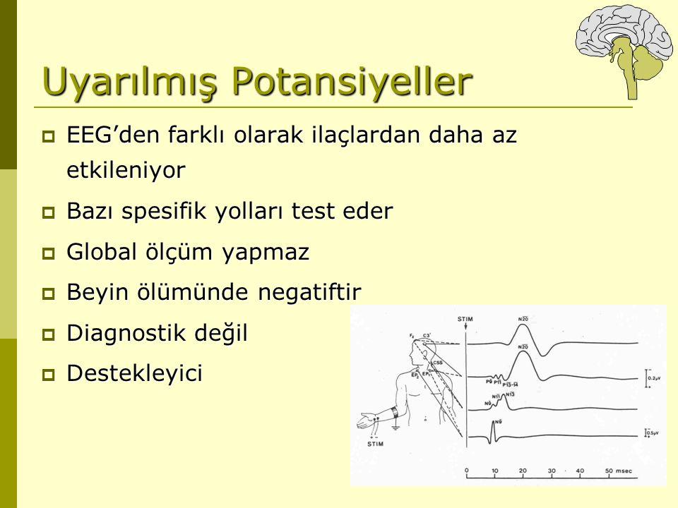 Uyarılmış Potansiyeller  EEG'den farklı olarak ilaçlardan daha az etkileniyor  Bazı spesifik yolları test eder  Global ölçüm yapmaz  Beyin ölümünd