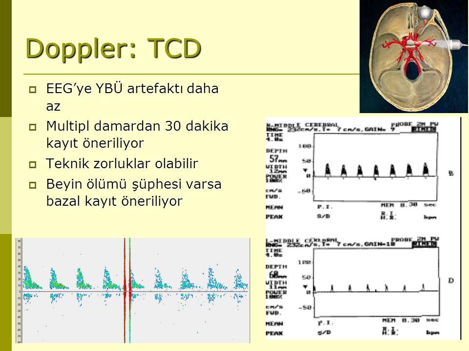 Doppler: TCD  EEG'ye YBÜ artefaktı daha az  Multipl damardan 30 dakika kayıt öneriliyor  Teknik zorluklar olabilir  Beyin ölümü şüphesi varsa baza
