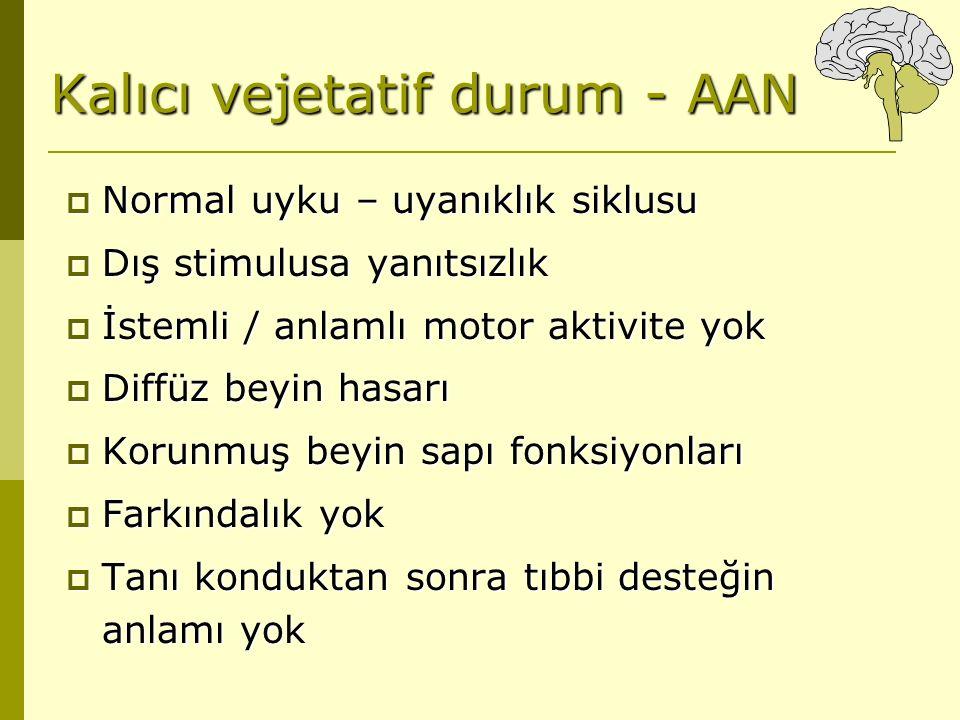 Kalıcı vejetatif durum - AAN  Normal uyku – uyanıklık siklusu  Dış stimulusa yanıtsızlık  İstemli / anlamlı motor aktivite yok  Diffüz beyin hasar