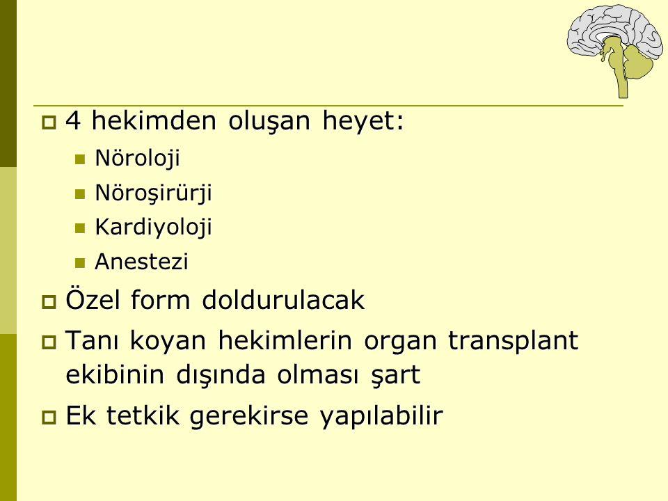  4 hekimden oluşan heyet: Nöroloji Nöroloji Nöroşirürji Nöroşirürji Kardiyoloji Kardiyoloji Anestezi Anestezi  Özel form doldurulacak  Tanı koyan h