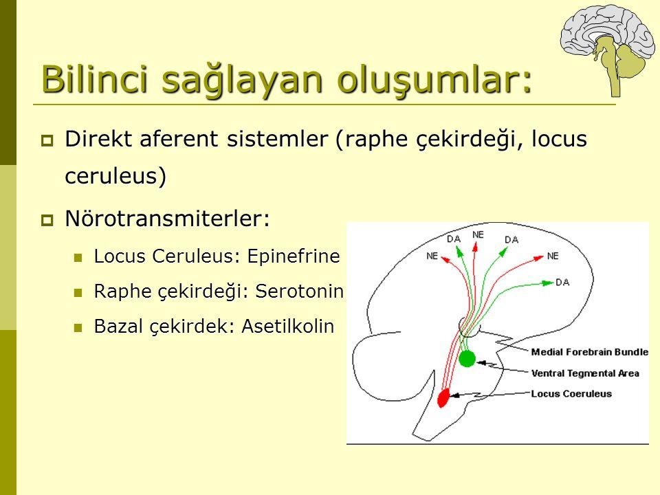 Bilinci sağlayan oluşumlar:  Direkt aferent sistemler (raphe çekirdeği, locus ceruleus)  Nörotransmiterler: Locus Ceruleus: Epinefrine Locus Ceruleu