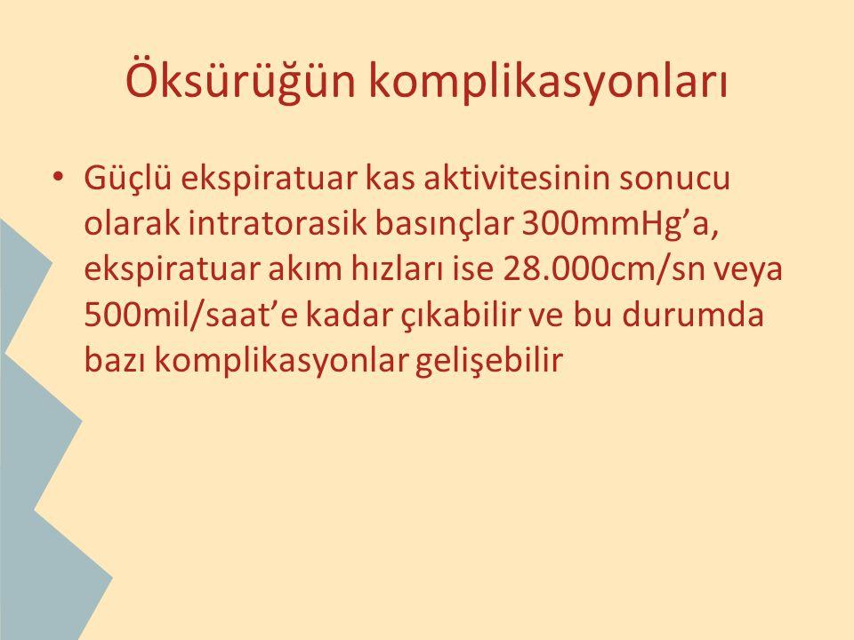 Öksürüğün komplikasyonları Güçlü ekspiratuar kas aktivitesinin sonucu olarak intratorasik basınçlar 300mmHg'a, ekspiratuar akım hızları ise 28.000cm/s