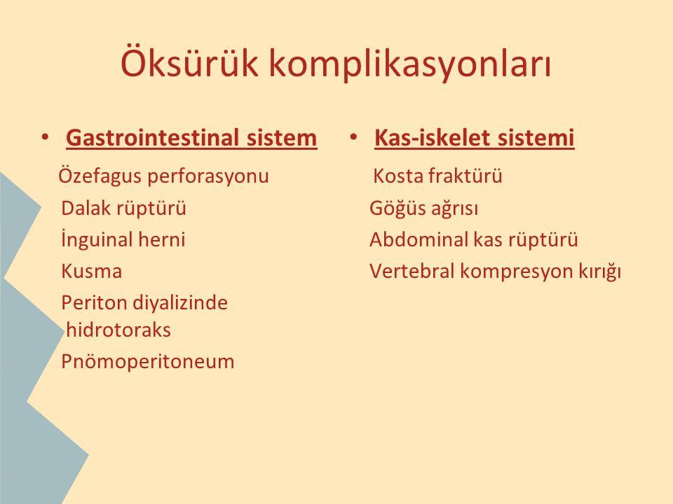 Öksürük komplikasyonları Gastrointestinal sistem Özefagus perforasyonu Dalak rüptürü İnguinal herni Kusma Periton diyalizinde hidrotoraks Pnömoperiton