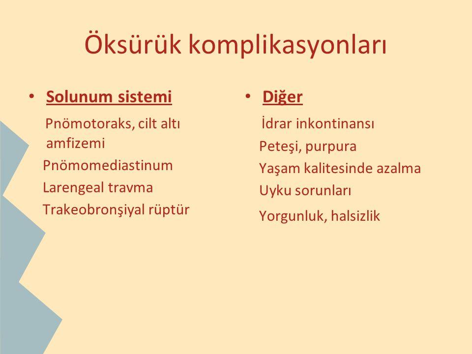 Öksürük komplikasyonları Solunum sistemi Pnömotoraks, cilt altı amfizemi Pnömomediastinum Larengeal travma Trakeobronşiyal rüptür Diğer İdrar inkontin