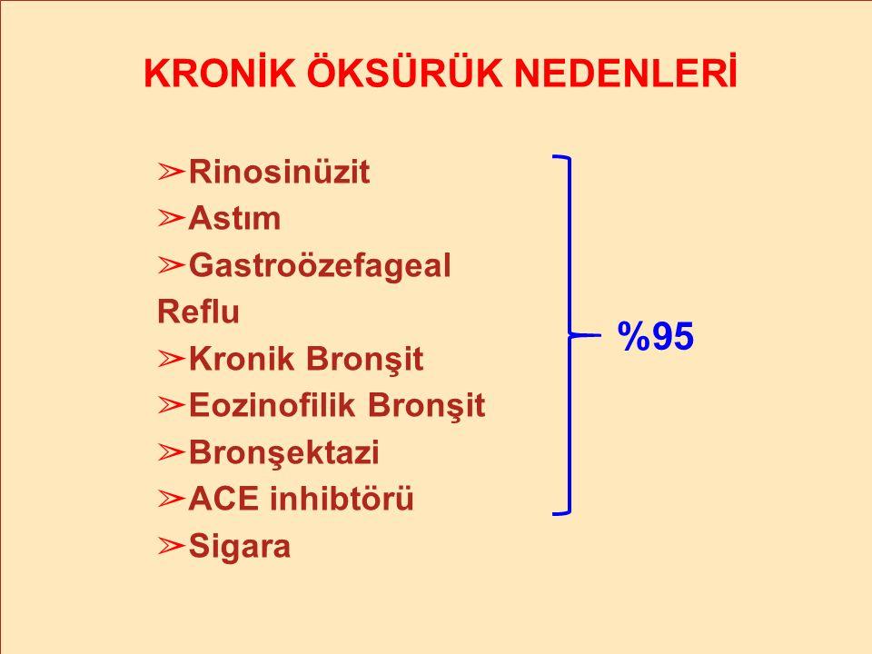 % 25 %20 %34 ERS Task Force Eur Respir J 24:481-92; 2004 KRONİK ÖKSÜRÜK NEDENLERİ ➢ Rinosinüzit ➢ Astım ➢ Gastroözefageal Reflu ➢ Kronik Bronşit ➢ Eoz