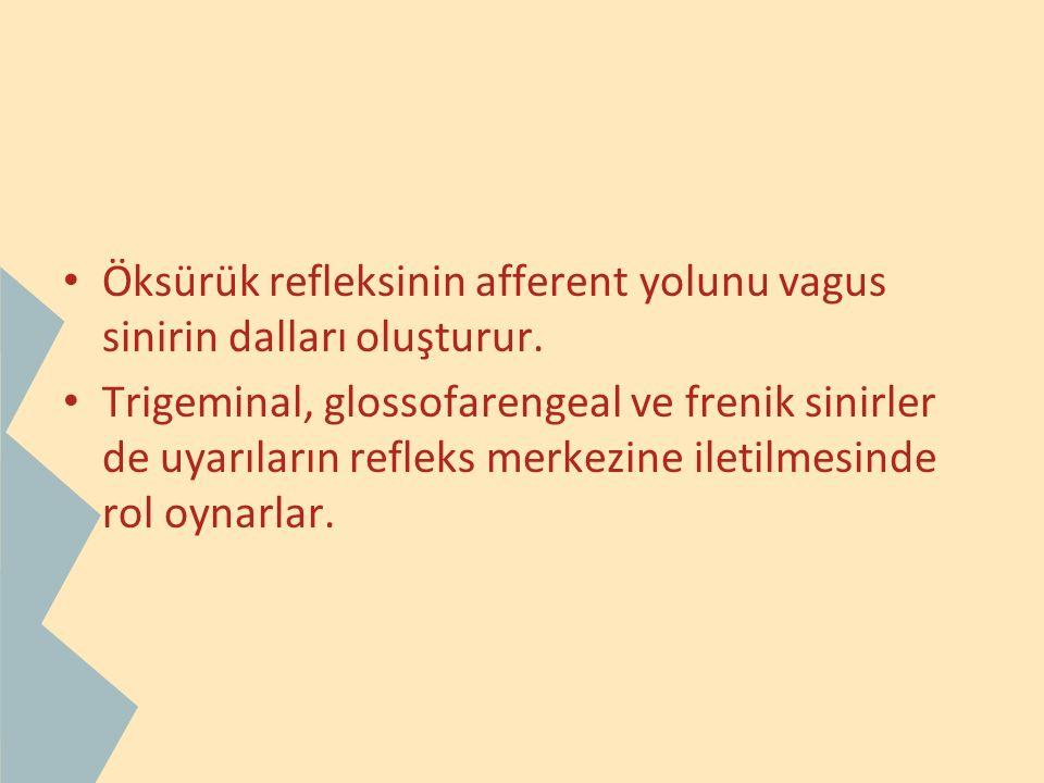 Öksürük refleksinin afferent yolunu vagus sinirin dalları oluşturur. Trigeminal, glossofarengeal ve frenik sinirler de uyarıların refleks merkezine il