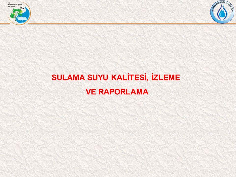 SULAMA SUYU KALİTESİ, İZLEME VE RAPORLAMA
