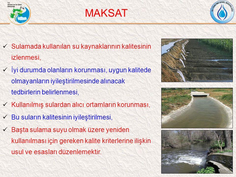 Sulamada kullanılan su kaynaklarının kalitesinin izlenmesi, İyi durumda olanların korunması, uygun kalitede olmayanların iyileştirilmesinde alınacak t
