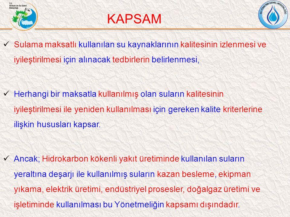 KAPSAM Sulama maksatlı kullanılan su kaynaklarının kalitesinin izlenmesi ve iyileştirilmesi için alınacak tedbirlerin belirlenmesi, Herhangi bir maksa