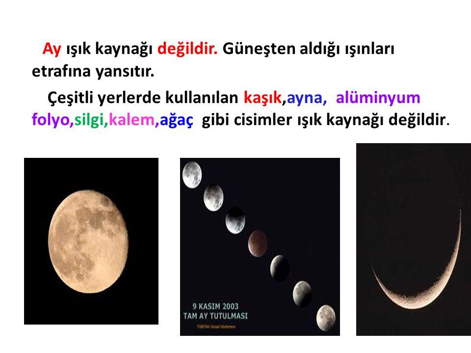 Ay ışık kaynağı değildir. Güneşten aldığı ışınları etrafına yansıtır. Çeşitli yerlerde kullanılan kaşık,ayna, alüminyum folyo,silgi,kalem,ağaç gibi ci