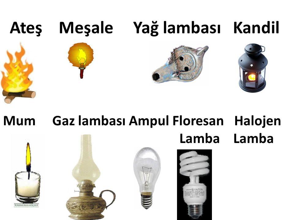 Ateş Meşale Yağ lambası Kandil Mum Gaz lambası Ampul Floresan Halojen Lamba Lamba