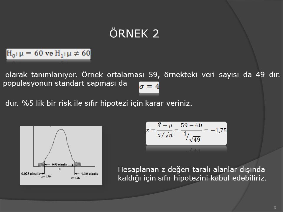 6 ÖRNEK 2 olarak tanımlanıyor. Örnek ortalaması 59, örnekteki veri sayısı da 49 dır. popülasyonun standart sapması da dür. %5 lik bir risk ile sıfır h